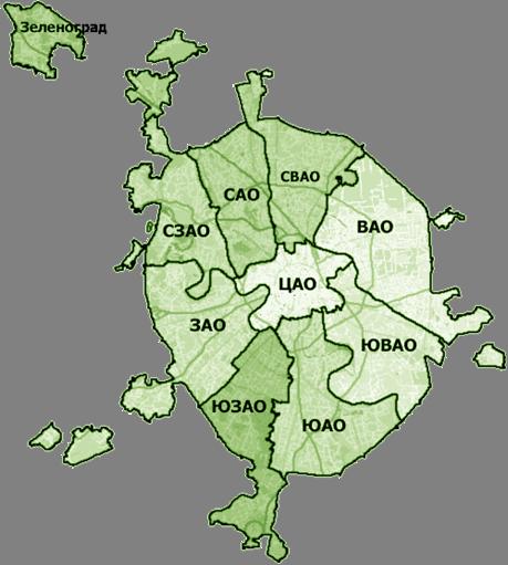 Схема деления г. Москвы на